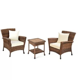 Rattan French Bistro Chairs   Wayfair Stephnie 3 Piece Rattan Conversation Set with Cushions
