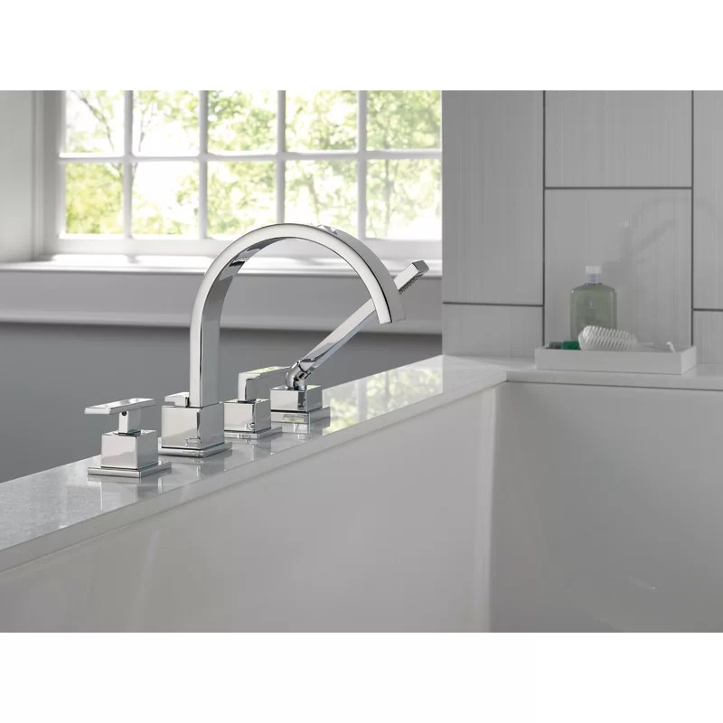vero double handle deck mounted roman tub faucet with handshower