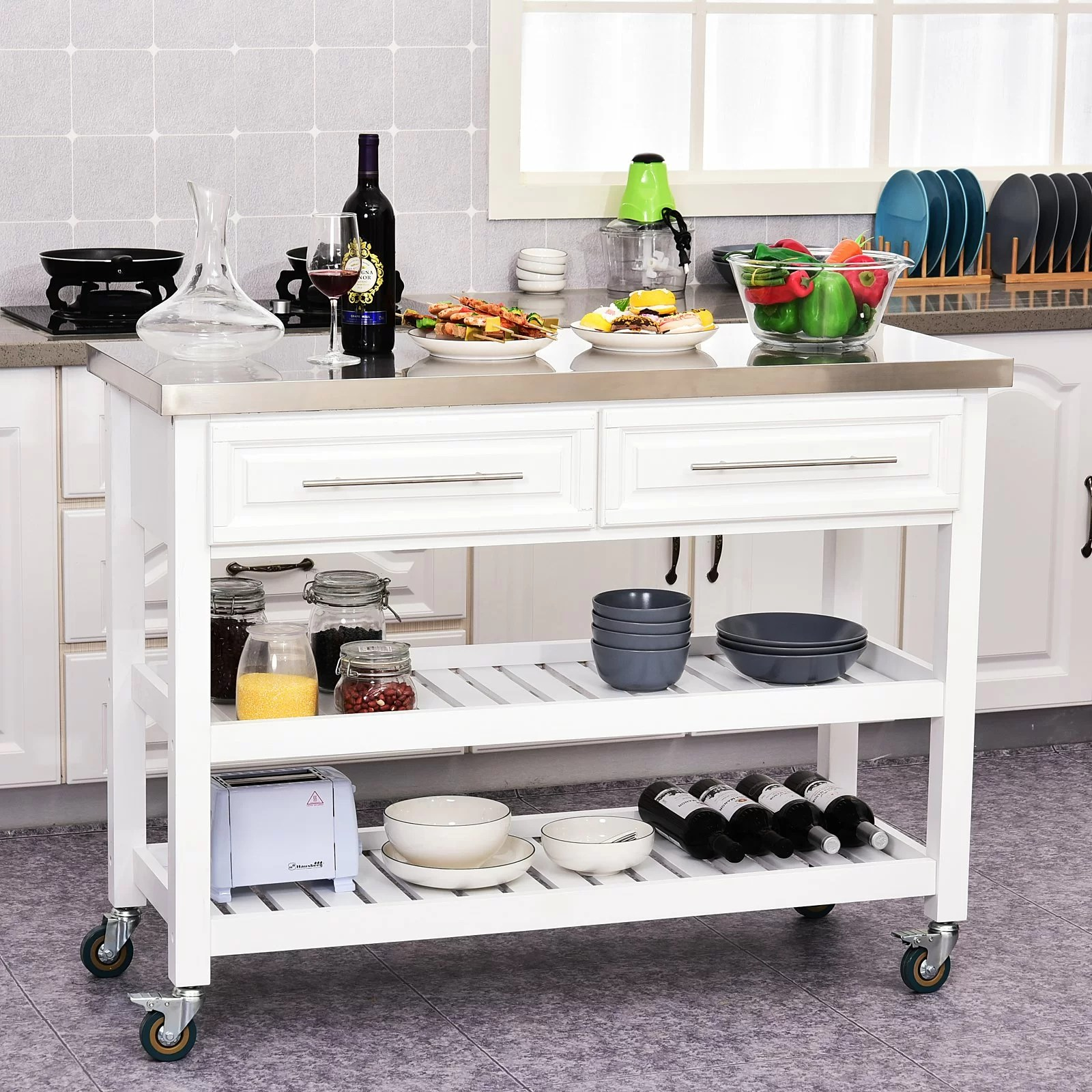 Rosecliff Heights Kourtney Rolling Kitchen Island With Stainless Steel Top Wayfair