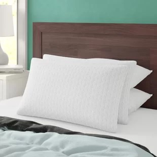 quinton fiber and memory foam medium support bed pillow set of 2