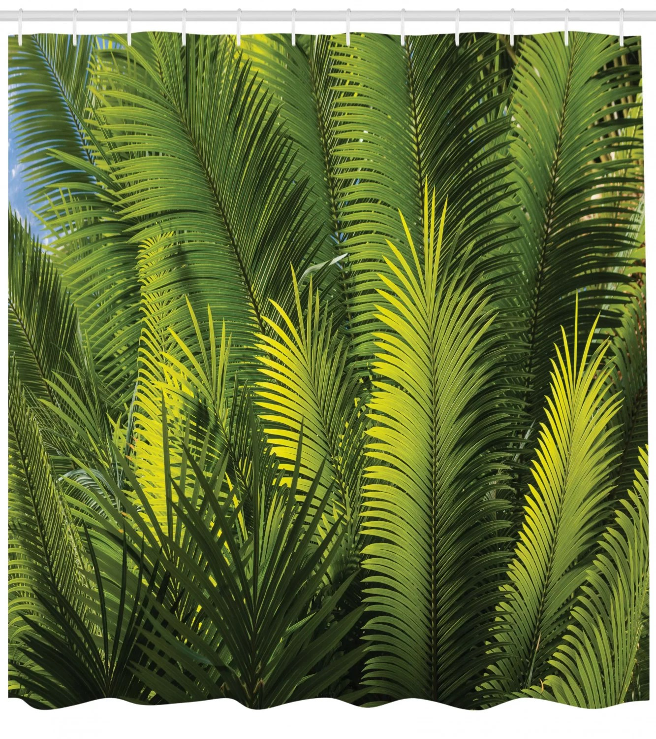 palm tree foliage tropical plant leaves forest exotic natural beauty image shower curtain set