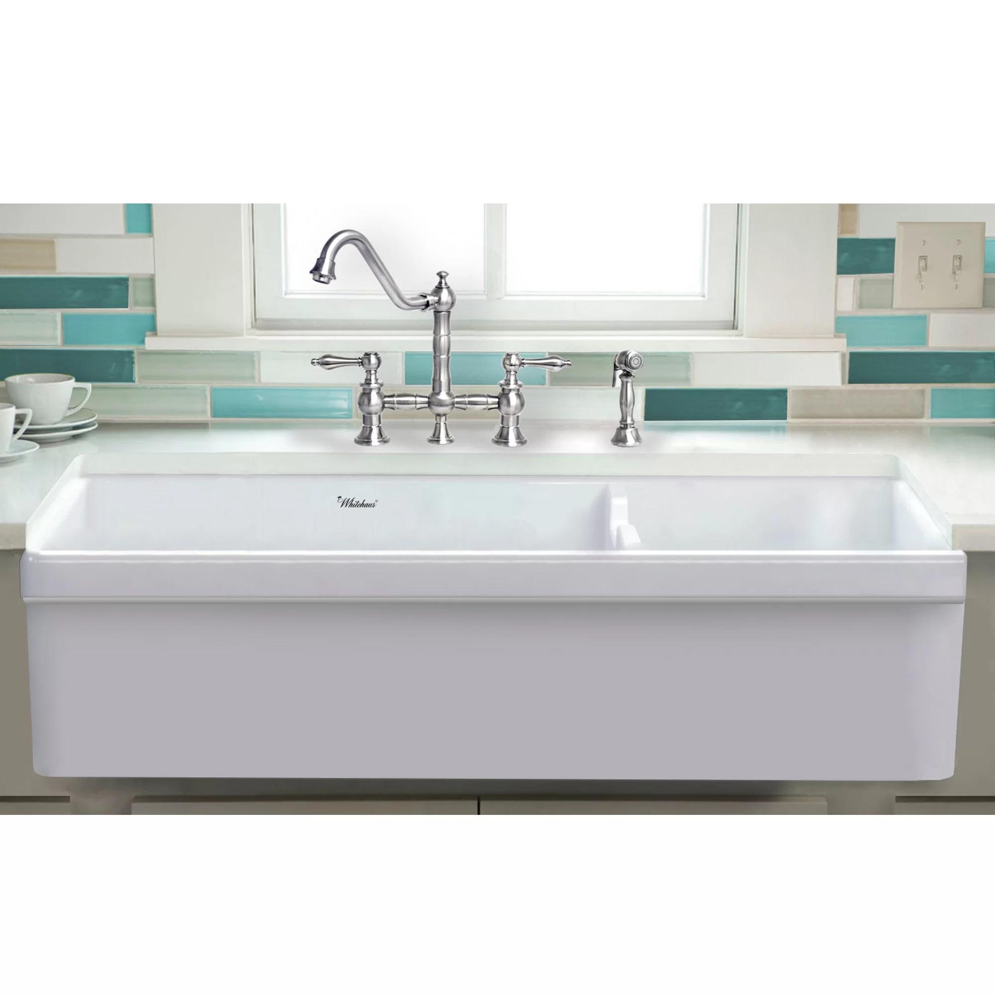 Whitehaus Collection Glencove 42 L X 19 W Double Basin Farmhouse Apron Kitchen Sink Reviews Wayfair