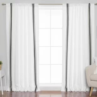beaulieu triple striped room darkening rod pocket curtain panels set of 2