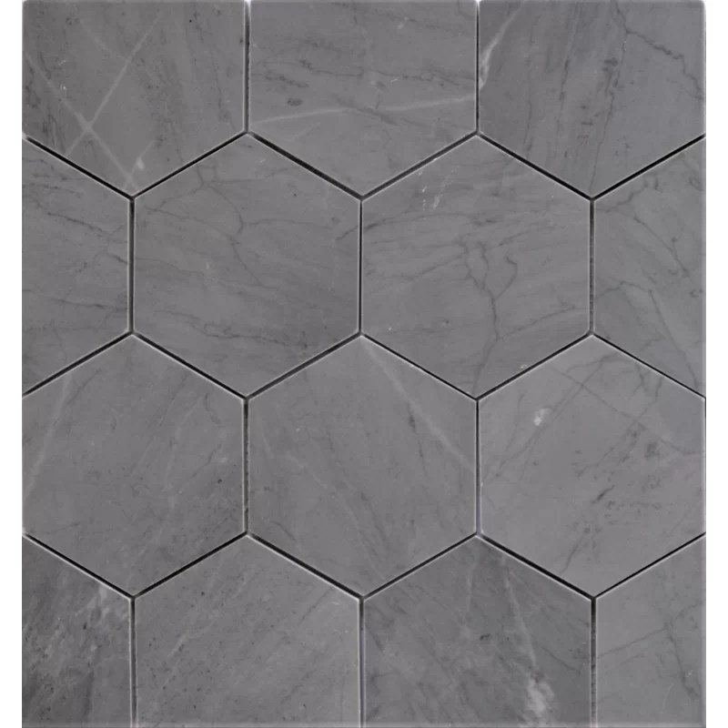 bardiglio 5 x 5 marble mosaic tile in blue gray
