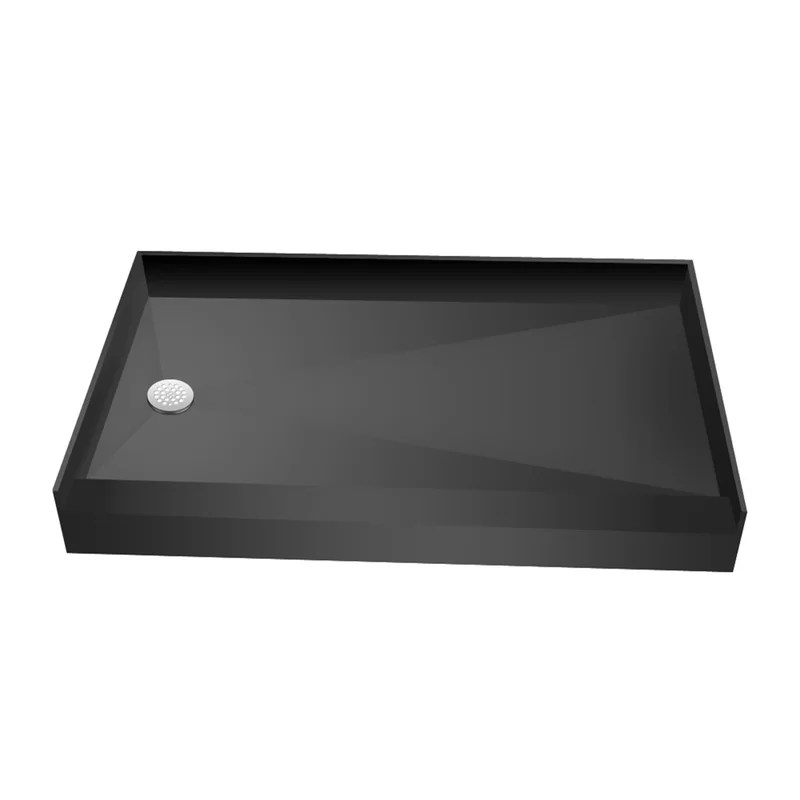 base n bench 30 x 60 single threshold shower base with bench and drain plate