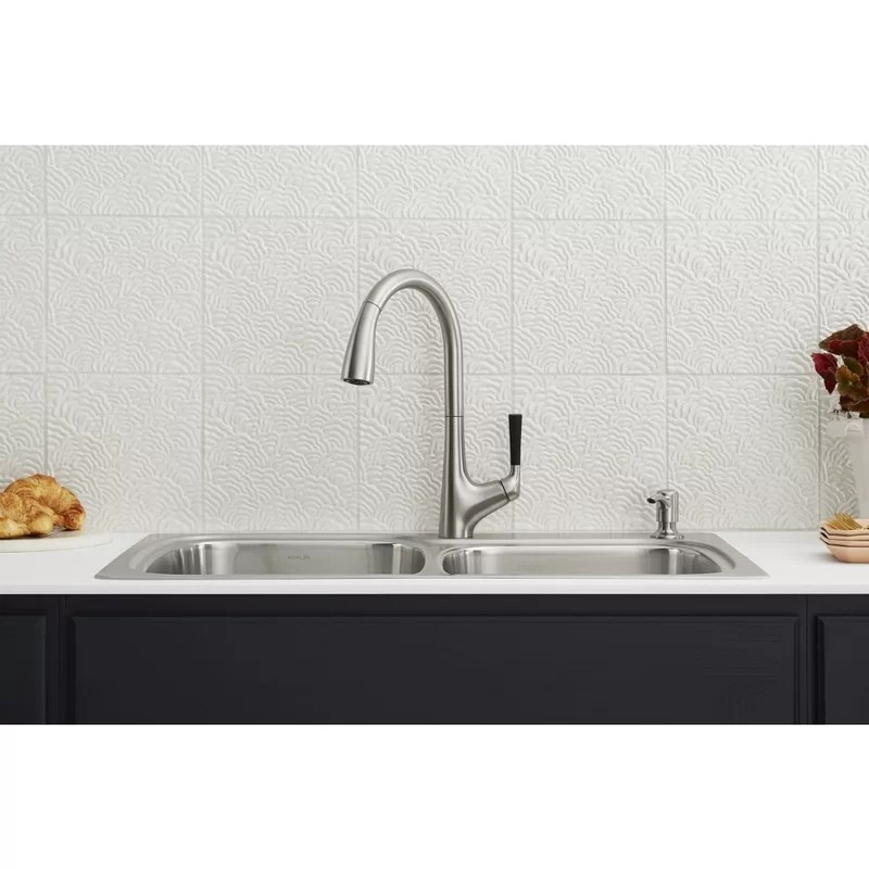kohler all in one dual mount stainless steel kitchen sink kit with faucet and accessories