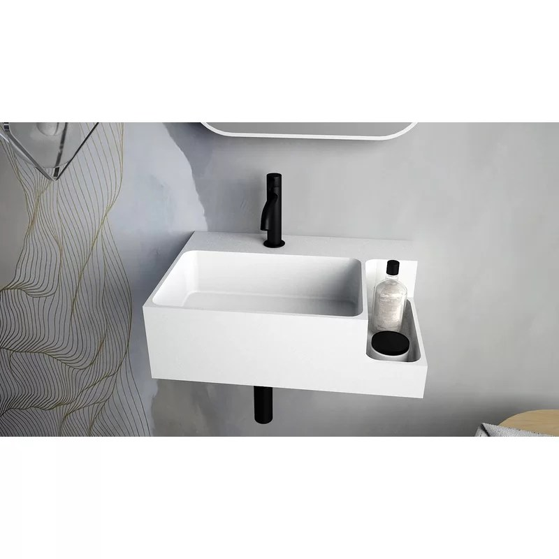matte white rectangular wall mount bathroom sink