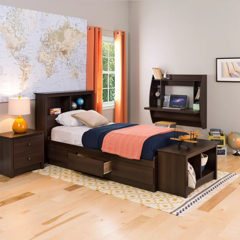 nolanville extra long twin mate s captain s bed with storage
