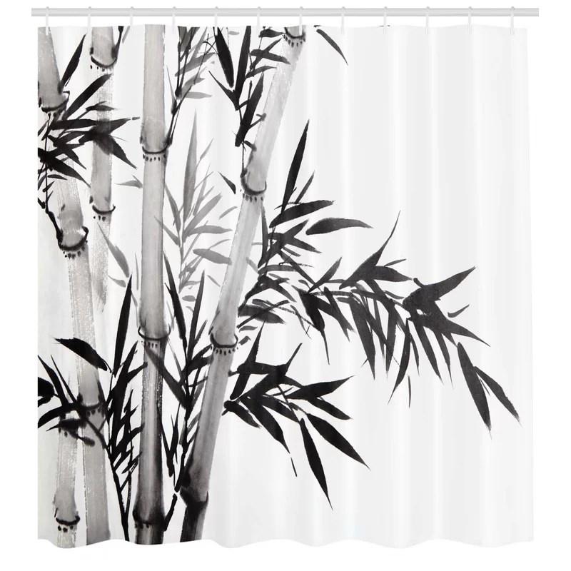 bamboo shower curtain set hooks
