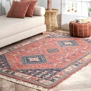 mkhitar persian inspired handmade flatweave blue orange area rug