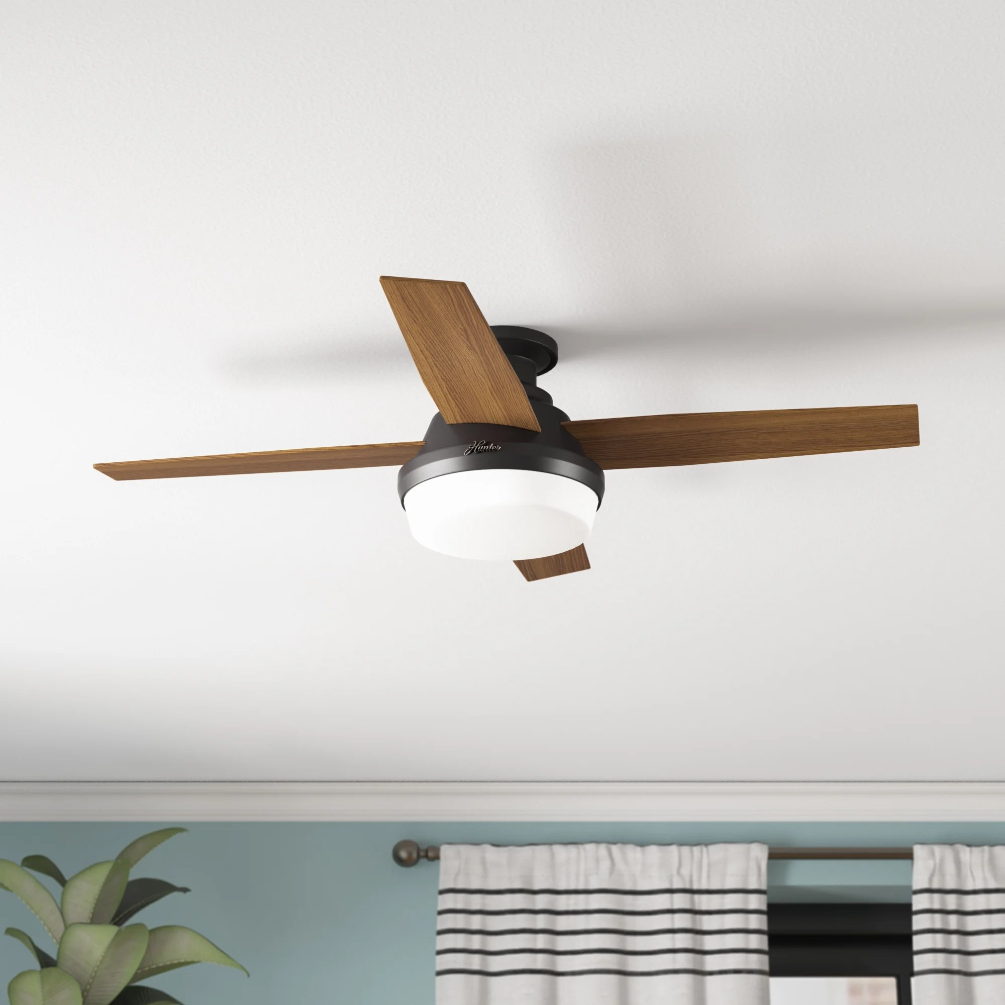 44 dempsey low profile 4 blade flush mount ceiling fan with remote control and light kit included