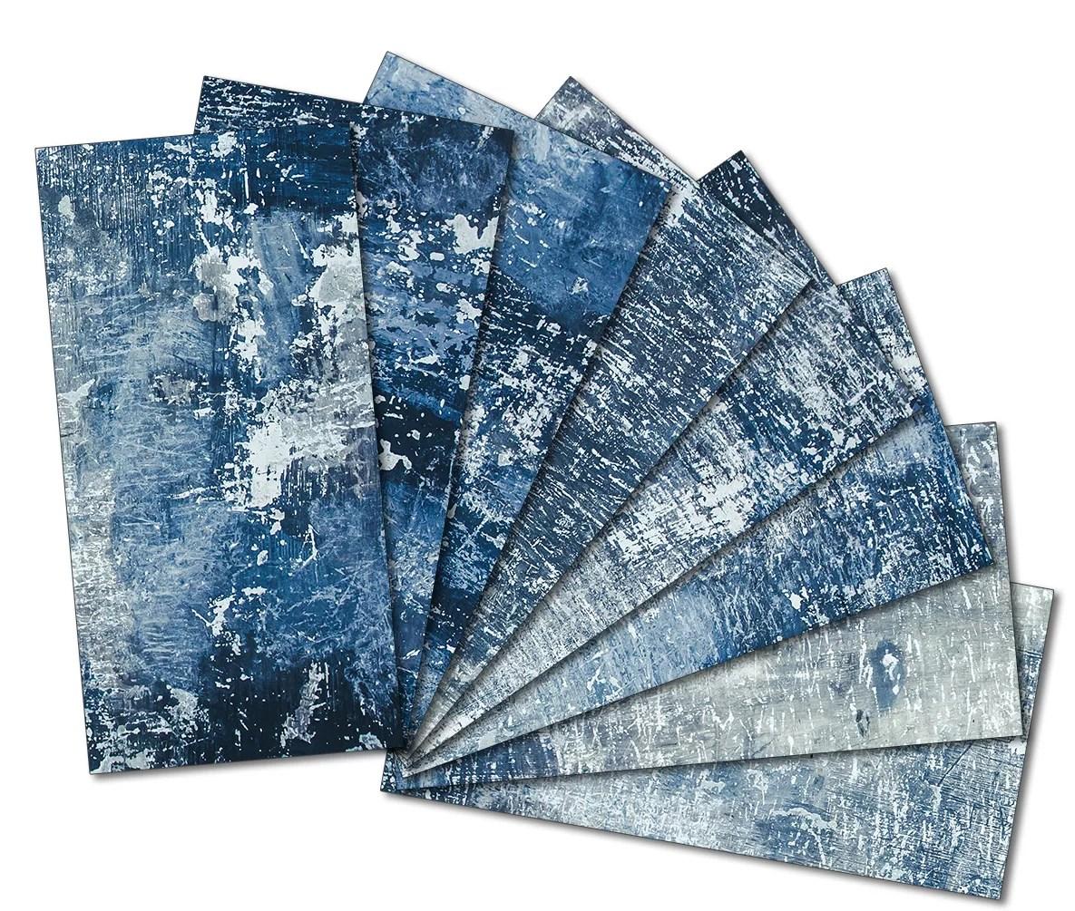 custom 3 x 6 beveled glass subway tile in blue white