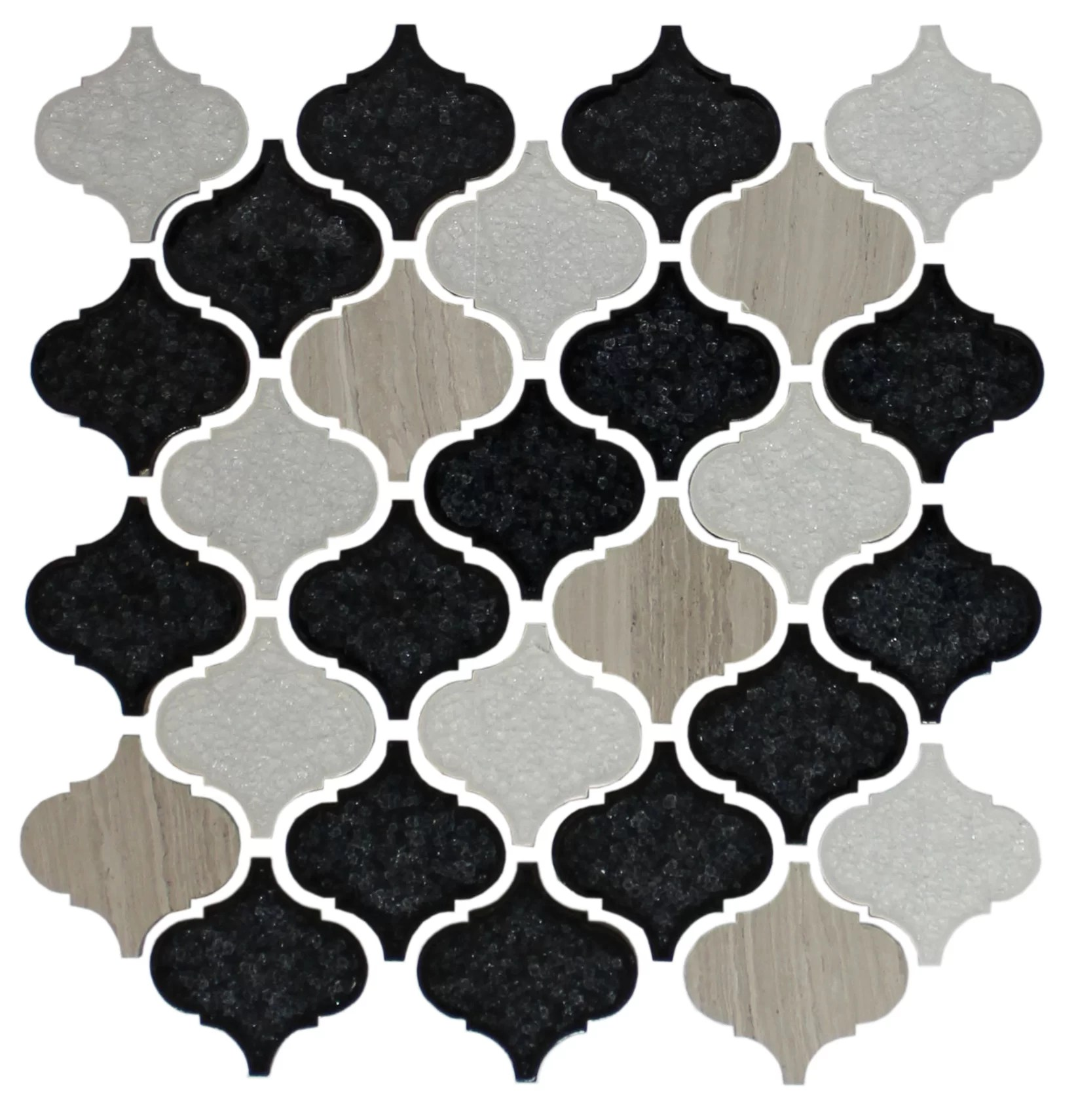 lemannville teardrop random sized glass mosaic tile in white black