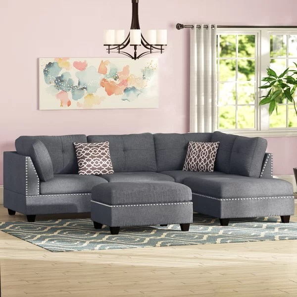 grey studded sectional
