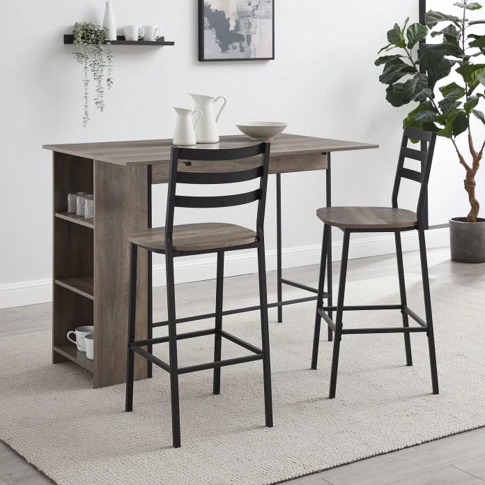 Ebern Designs Garcia 3 Piece Counter Height Drop Leaf Dining Set Reviews Wayfair
