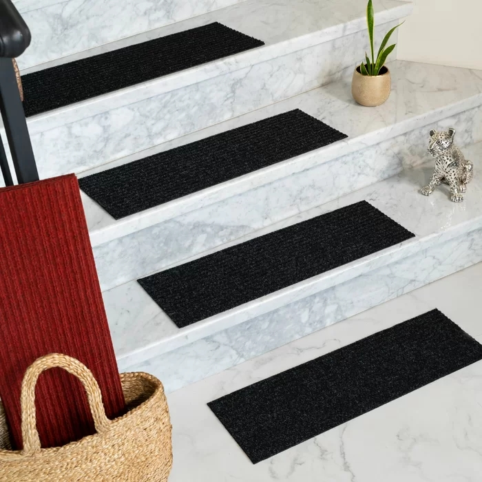 Non Slip Carpet Stair Treads Double Sided Tape 30 Inch X 8 Inch | 8 Inch Carpet Stair Treads | Bullnose Carpet | Wood Stairs | Rubber Backing | Mat | Non Slip Stair