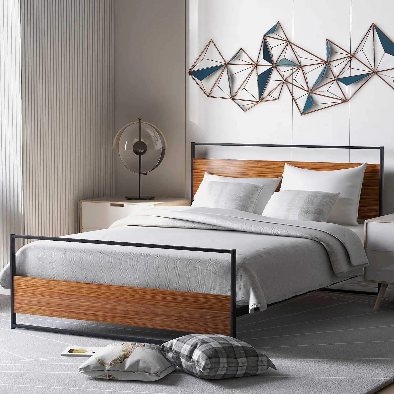 Latitude Run Full Size Metal And Wood Platform Bed Frame With Headboard And Footboard And Wooden Slat Support No Box Spring Needed For Bedroom Wayfair Ca