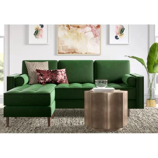 modern contemporary emerald green velvet sectional
