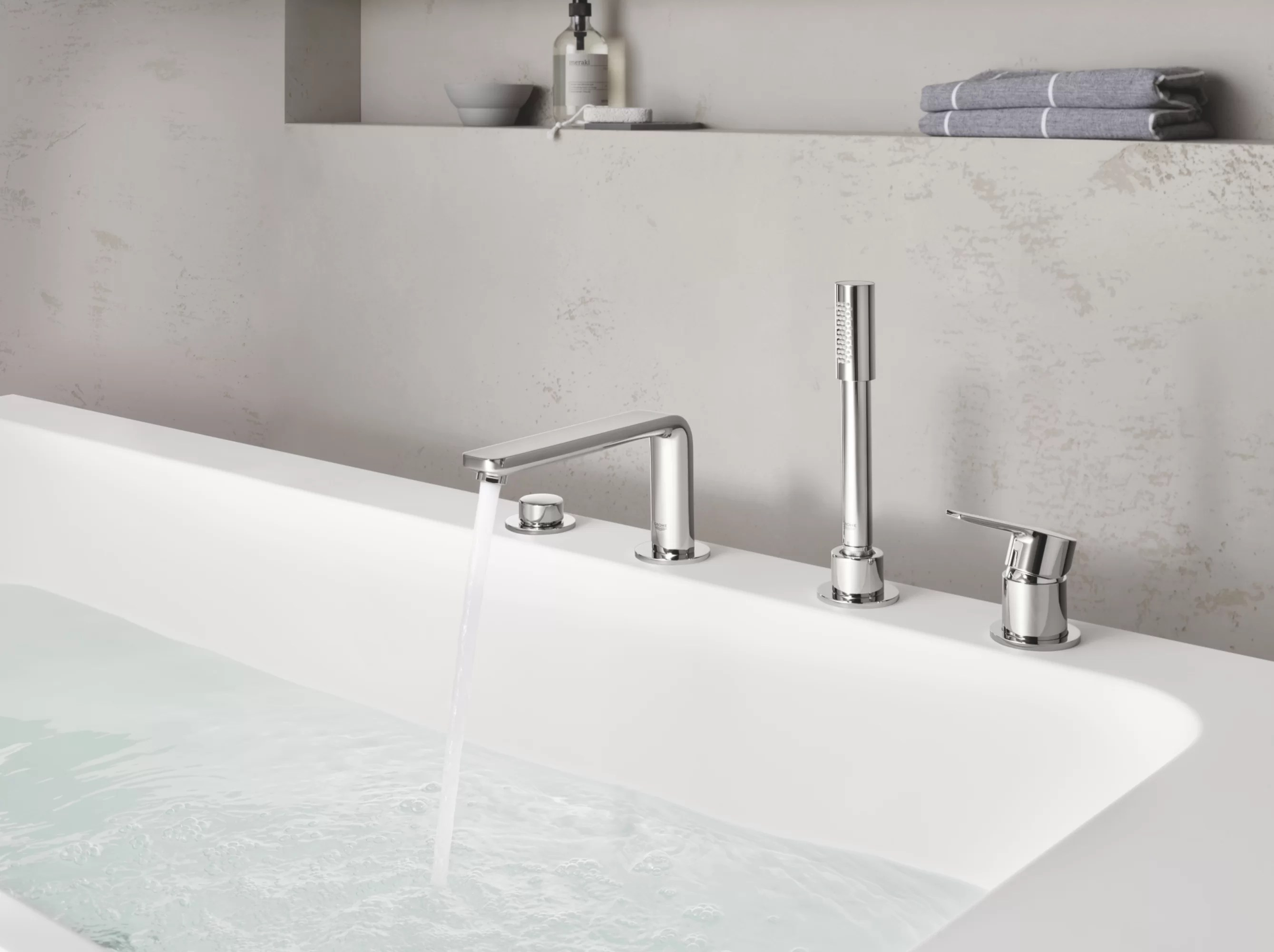 lineare double handle deck mounted roman tub faucet with diverter and handshower