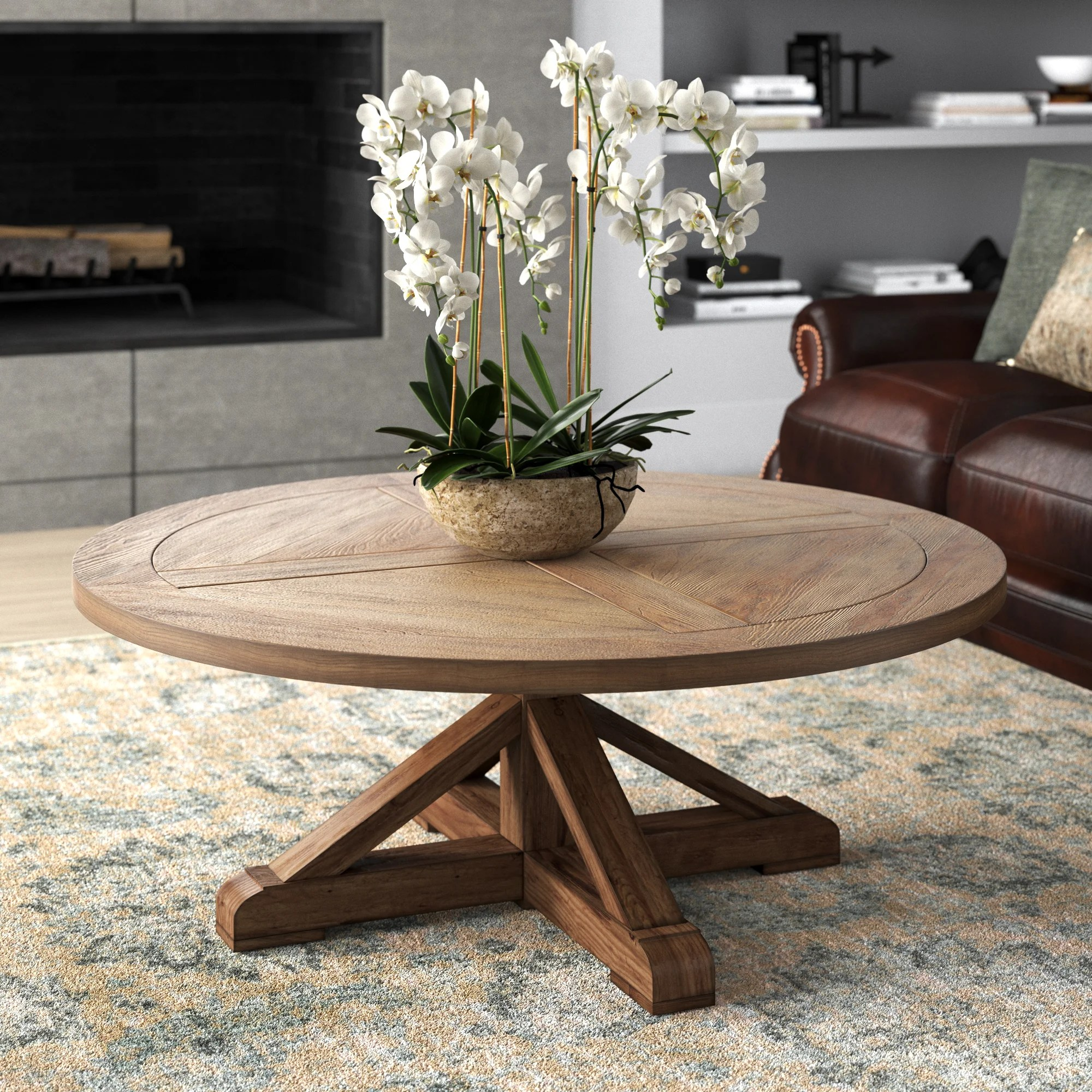 pedestal round coffee tables you ll
