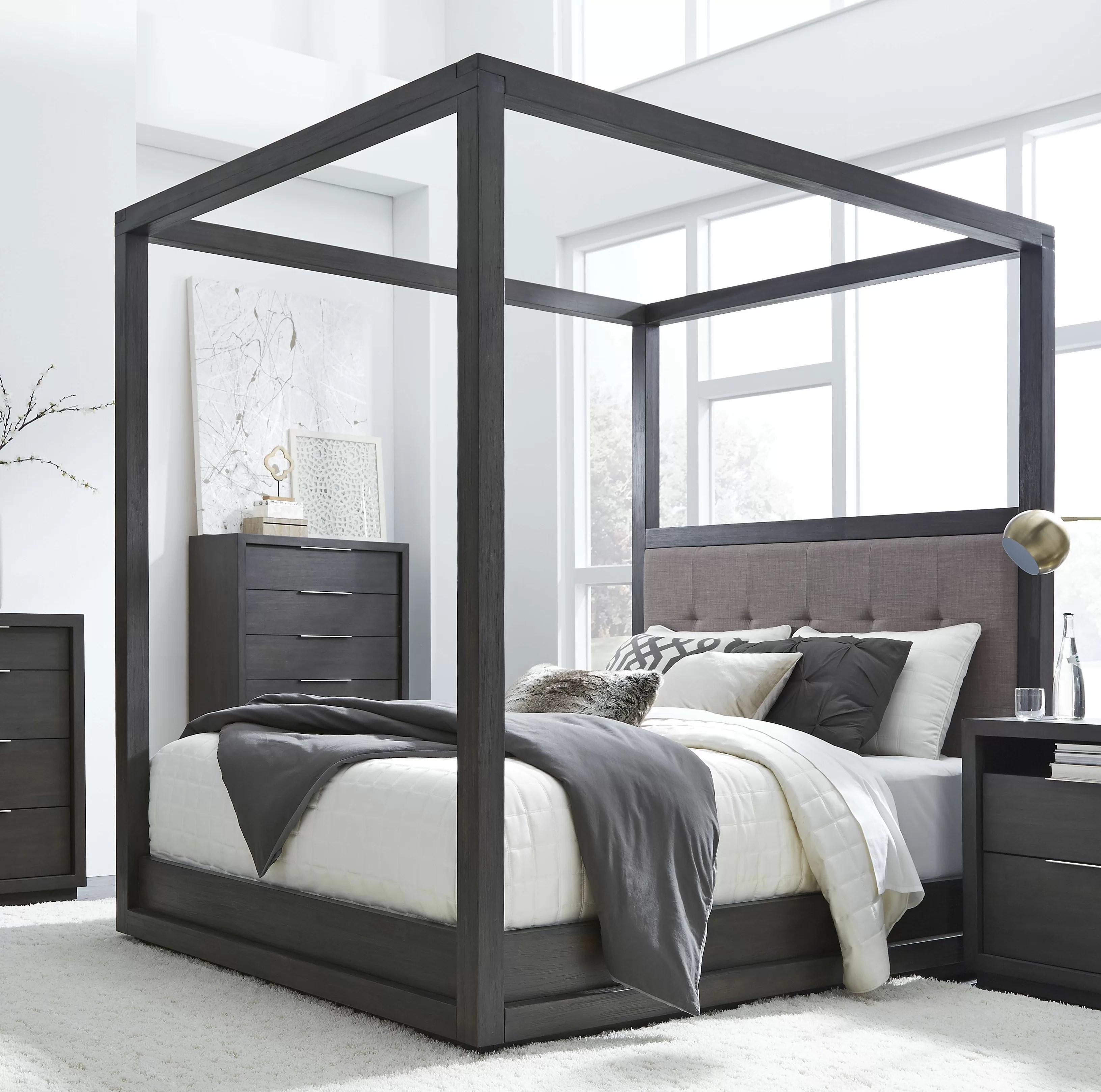 Tufted Solid Wood And Upholstered Low Profile Canopy Bed Reviews