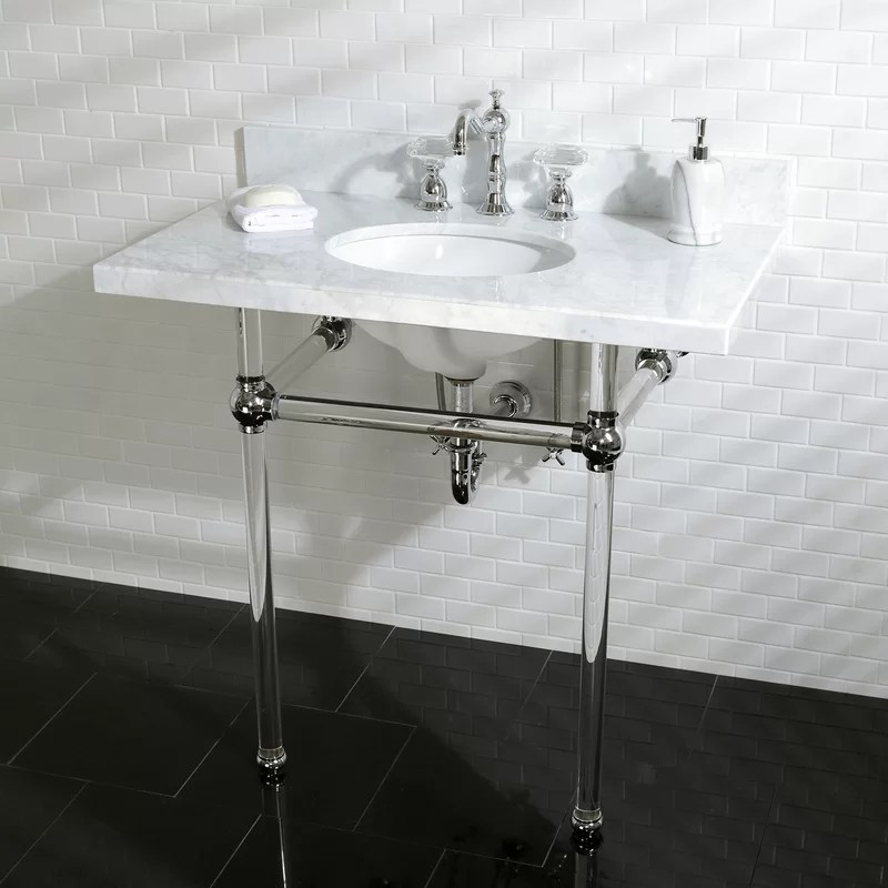 templeton stone 36 console bathroom sink with overflow