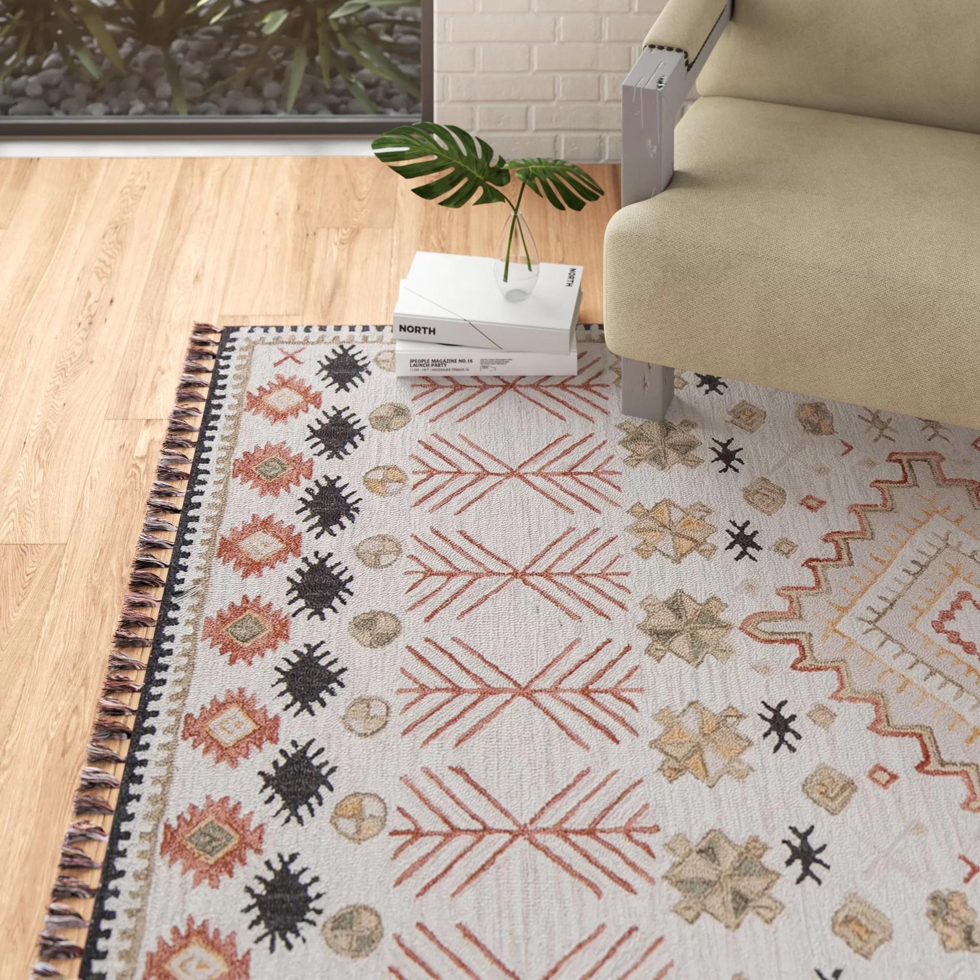 Agna Southwestern Handmade Hooked Wool Pink Beige Area Rug Reviews
