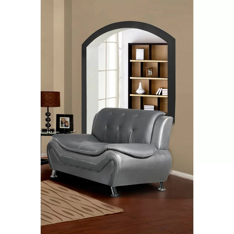 sifford 61 wide faux leather armless loveseat