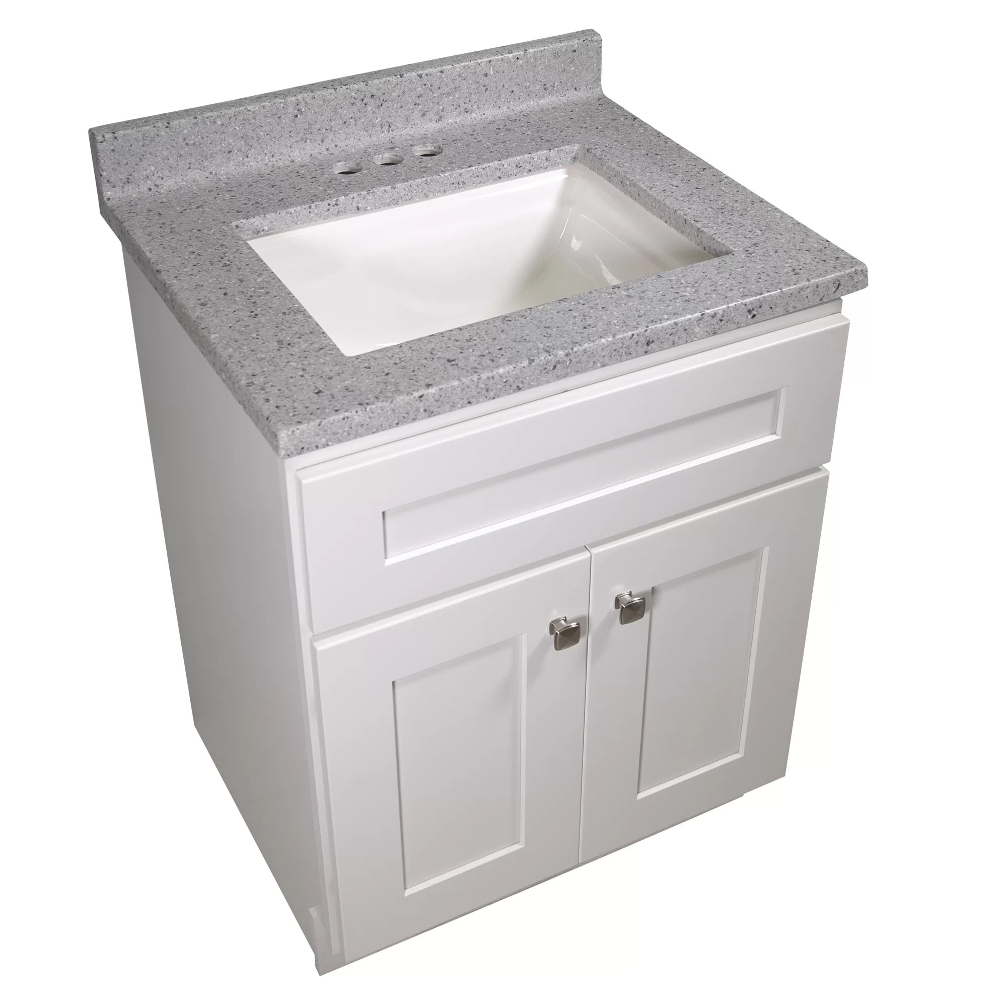 25 in w cultured marble vanity top in moonscape grey with solid white basin and 4 in faucet spread