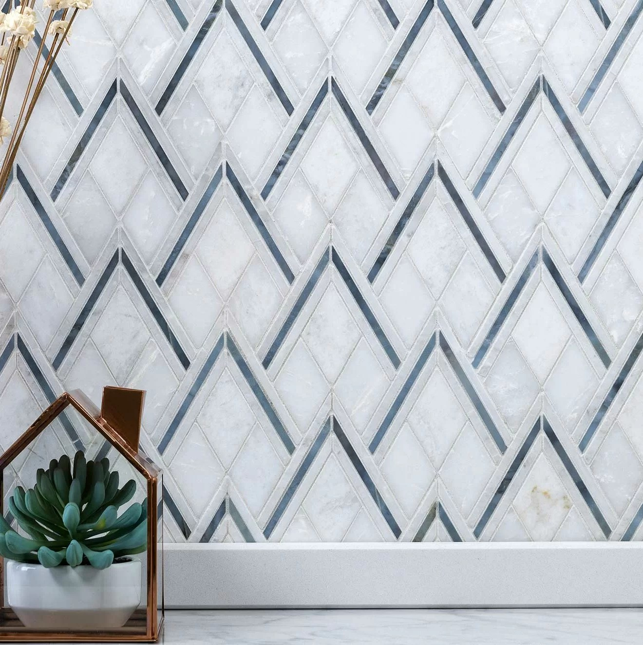 chevron random sized marble mosaic tile in gray blue reviews joss main