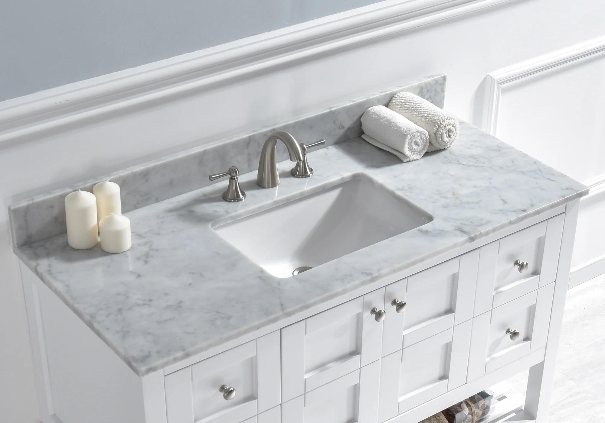 https www wayfair com home improvement pdp woodbridge 48 single bathroom vanity top in carra white with sink wdbr1162 html
