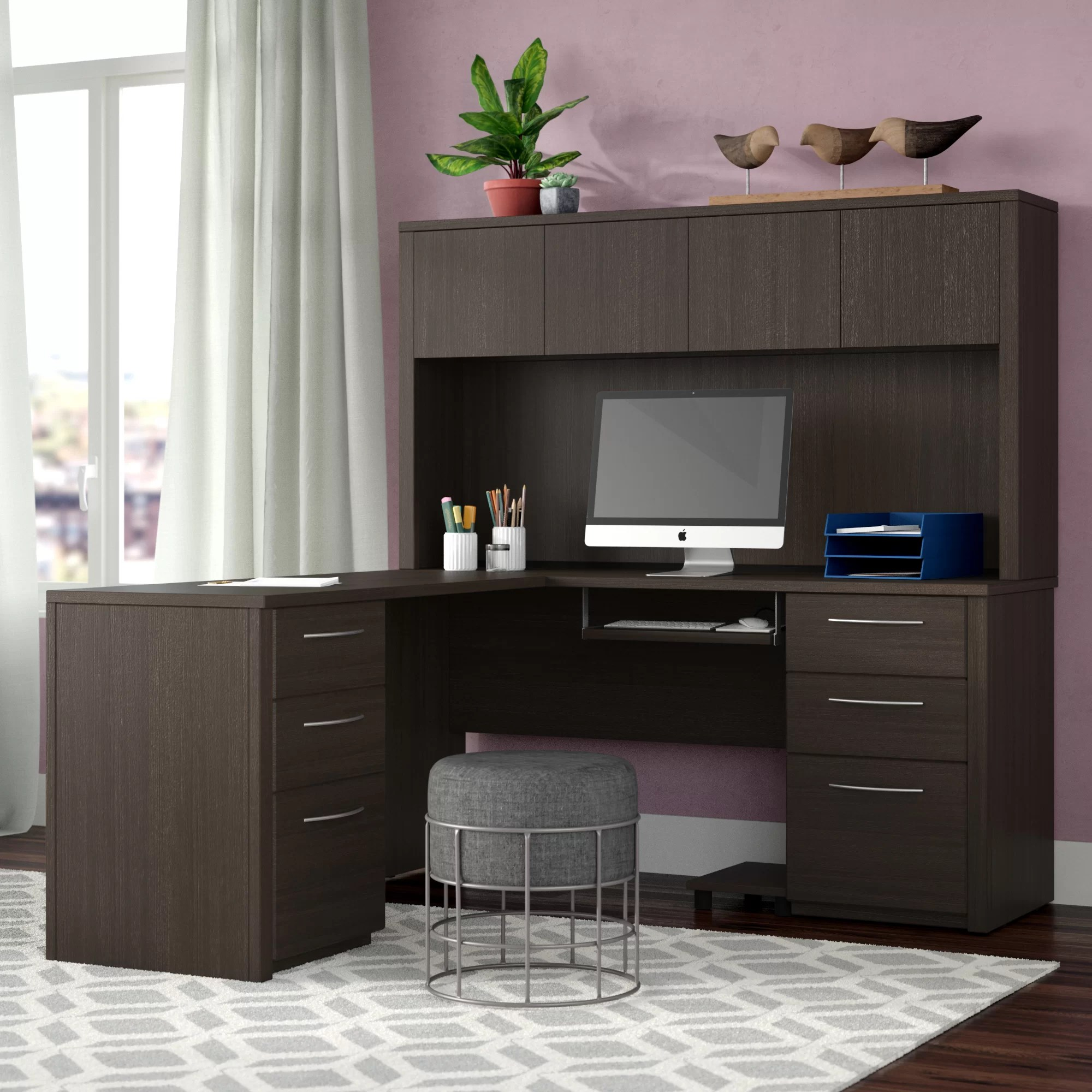 karyn reversible l shape desk with hutch
