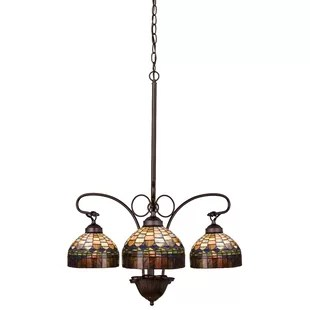 Victorian Tiffany Candice 3 Light Shaded Chandelier