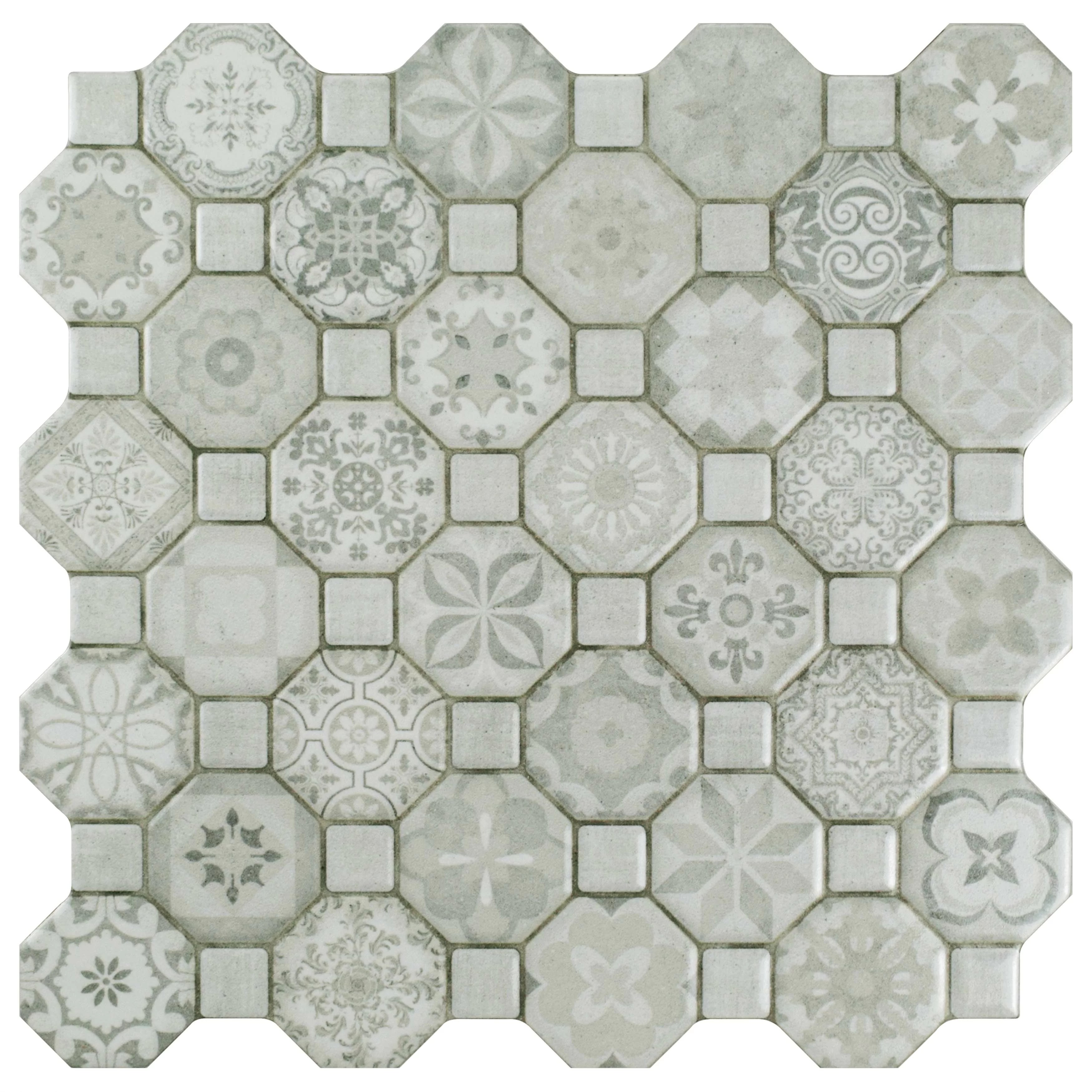 edredon 12 x 12 ceramic octagon and dot mosaic wall floor tile