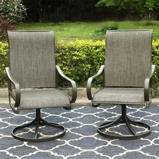 swivel patio dining chair set of 2