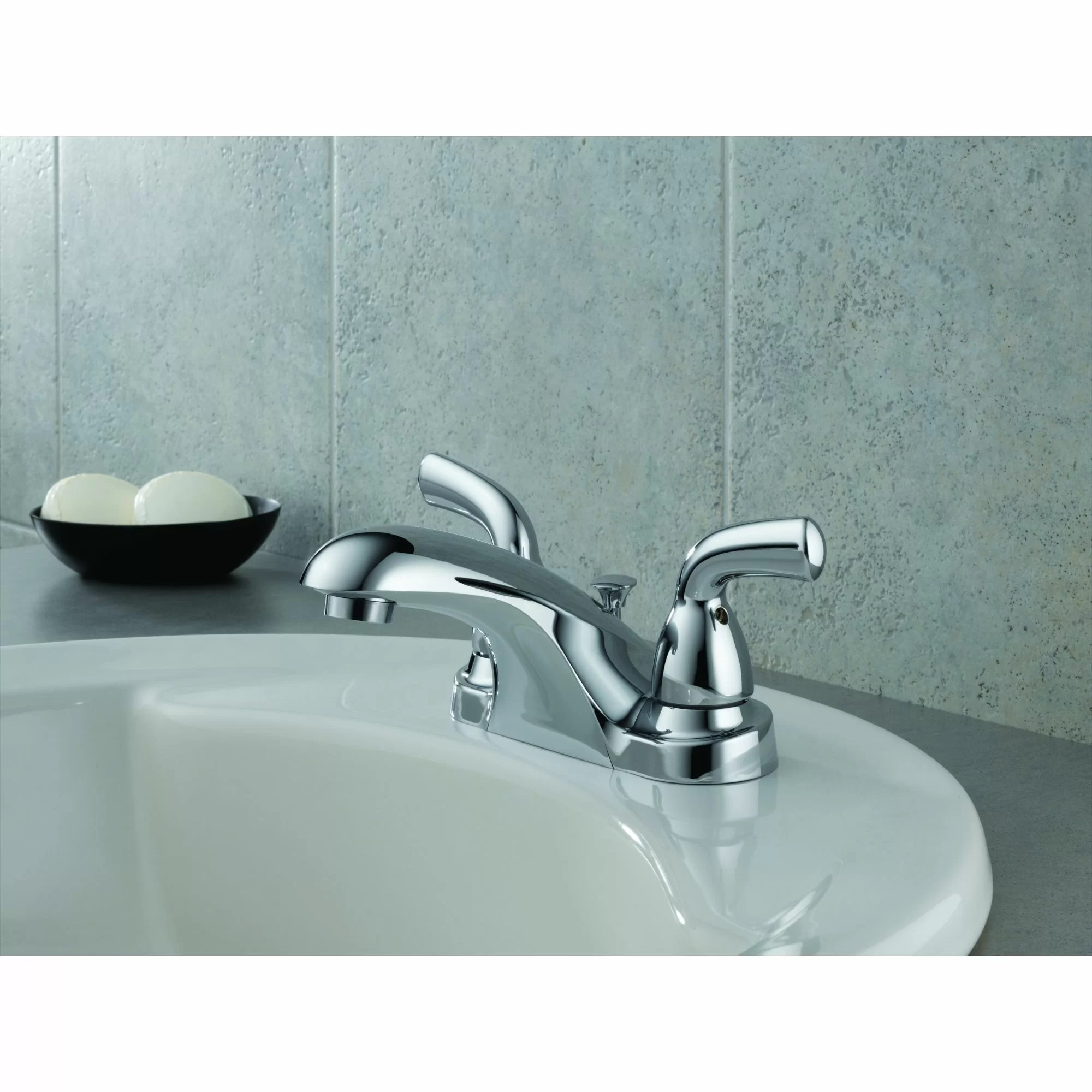 foundations two handle centerset lavatory faucet with pop up drain