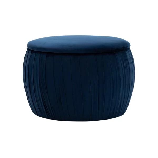 modern contemporary navy blue storage ottoman