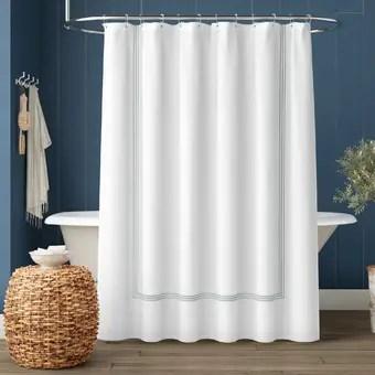 cotton striped single shower curtain