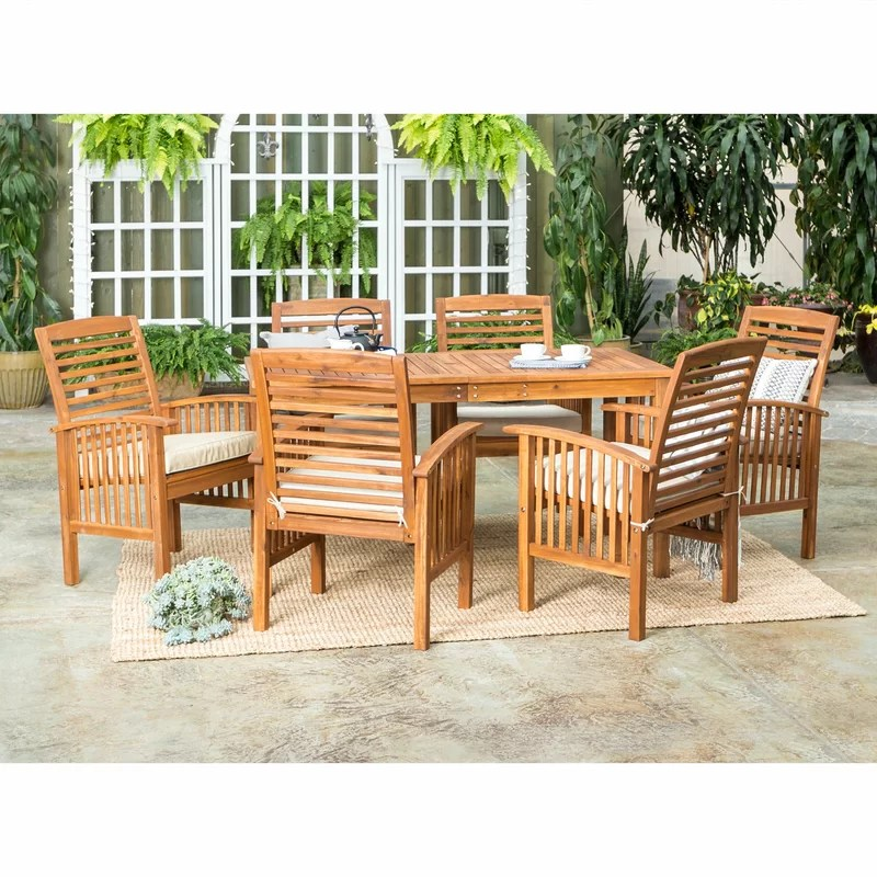 diboll rectangular 6 person 60 long dining set with cushions