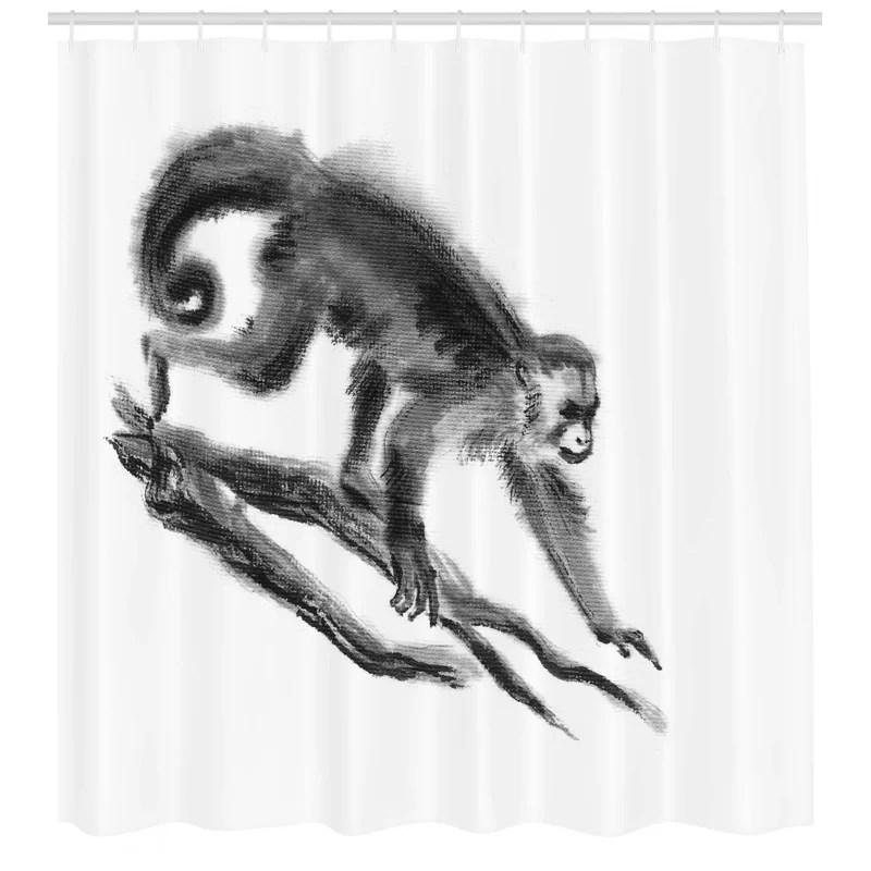 exotic jungle monkey shower curtain hooks