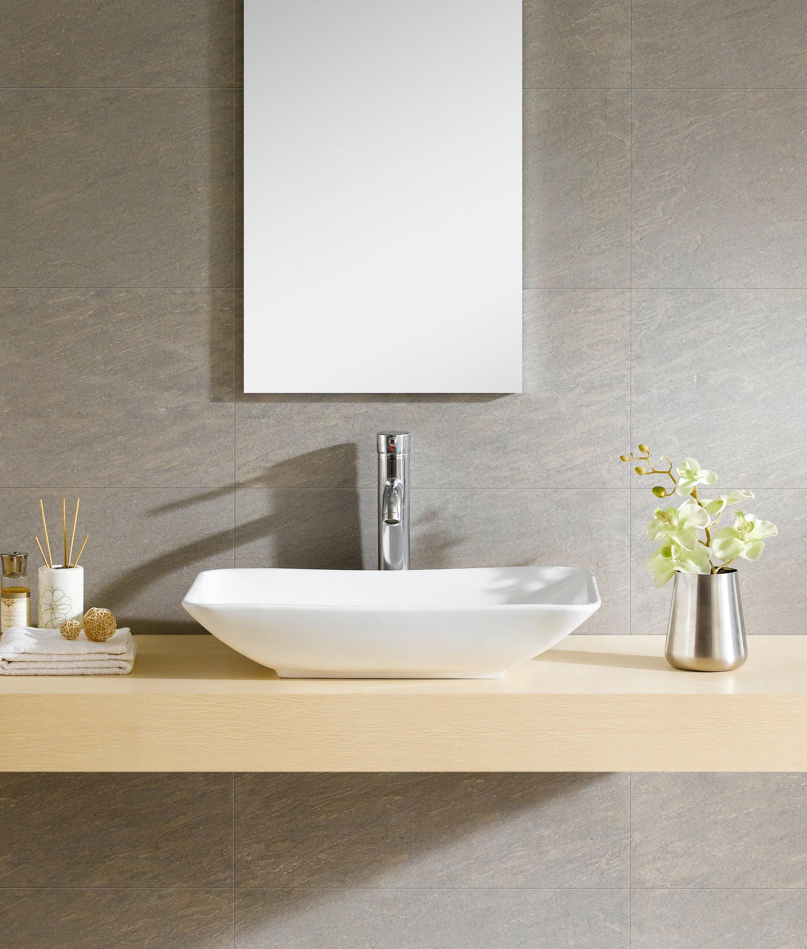 modern ceramic rectangular vessel bathroom sink