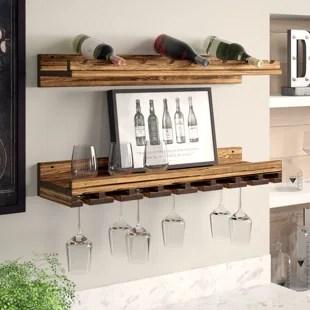 berlyn solid wood wall mounted wine bottle glass rack