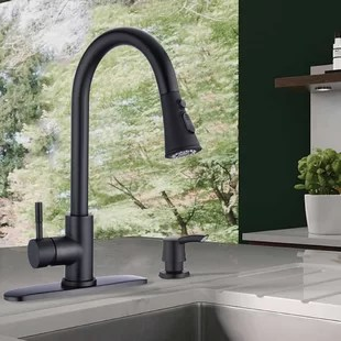 pull down single handle kitchen faucet with optional soap dispenser