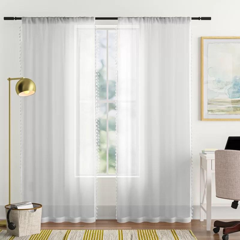 tilda solid sheer curtain panels