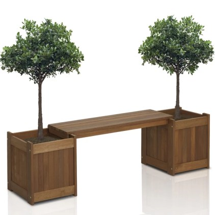 Arianna Rectangular Wood Planter Bench