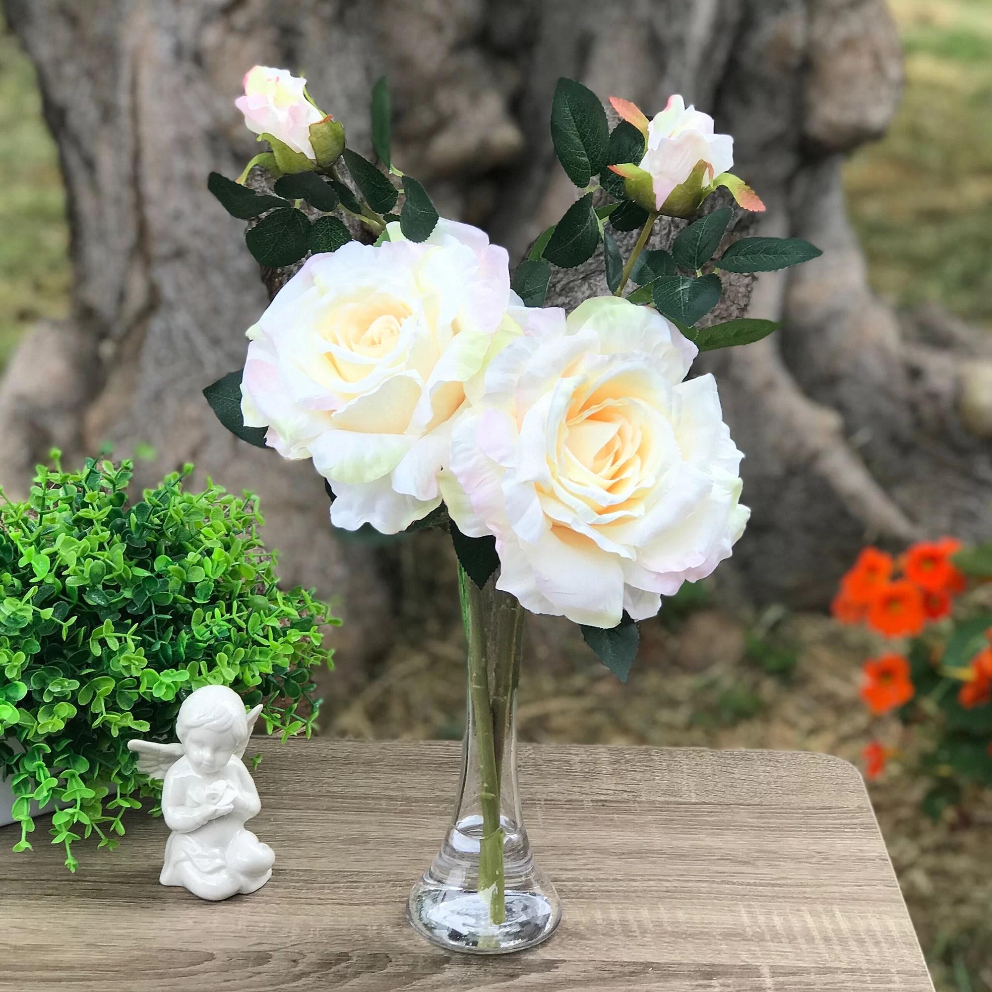 House Of Hampton Large Silk Open Roses Floral Arrangement And Centerpieces In Vase Wayfair