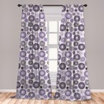 East Urban Home Ambesonne Purple And Black Curtains Scattered Round Big And Small With Mandala Inspired Design Window Treatments 2 Panel Set For Living Room Bedroom Decor 56 X 63 Violet Black White