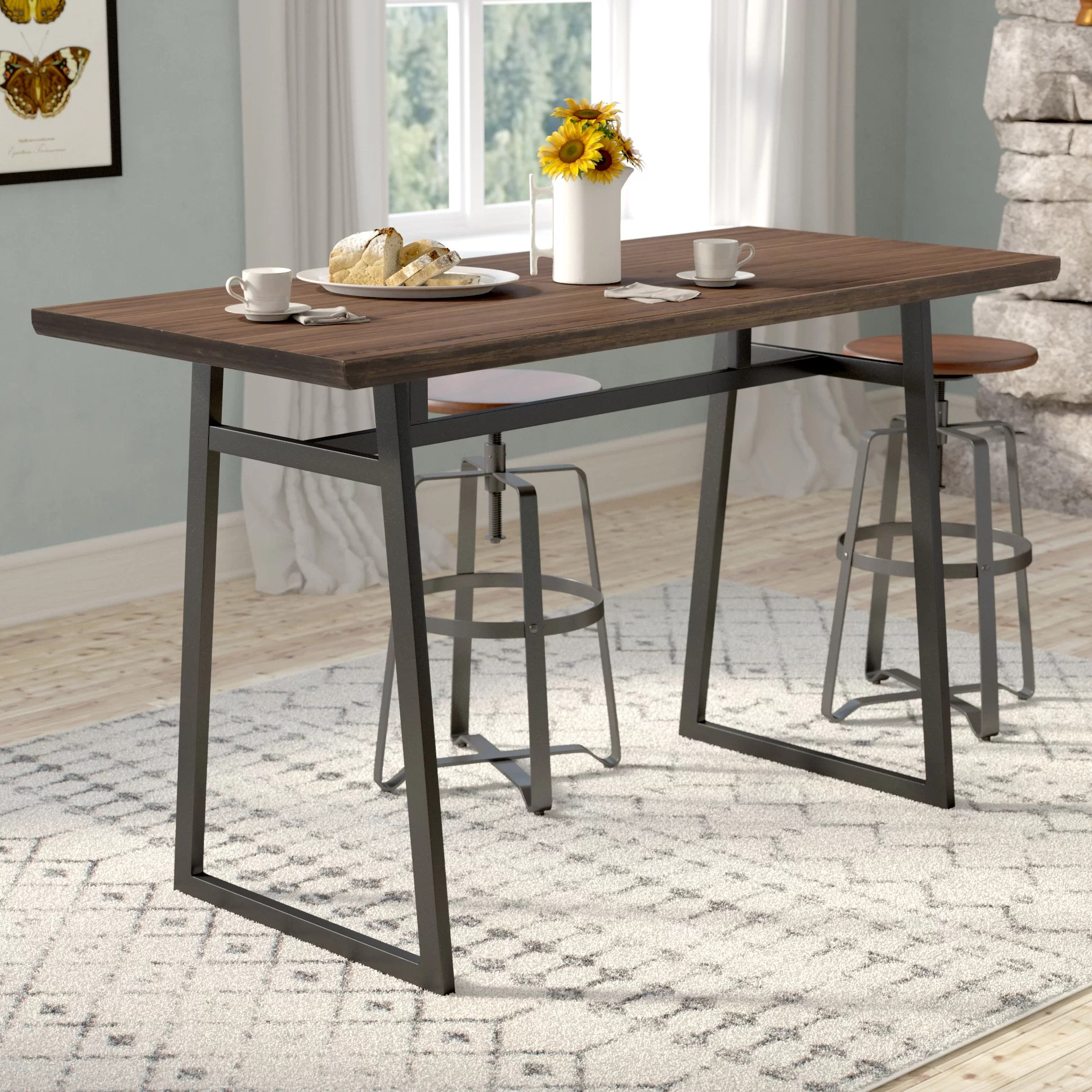 gracie oaks platane industrial counter height dining table reviews wayfair