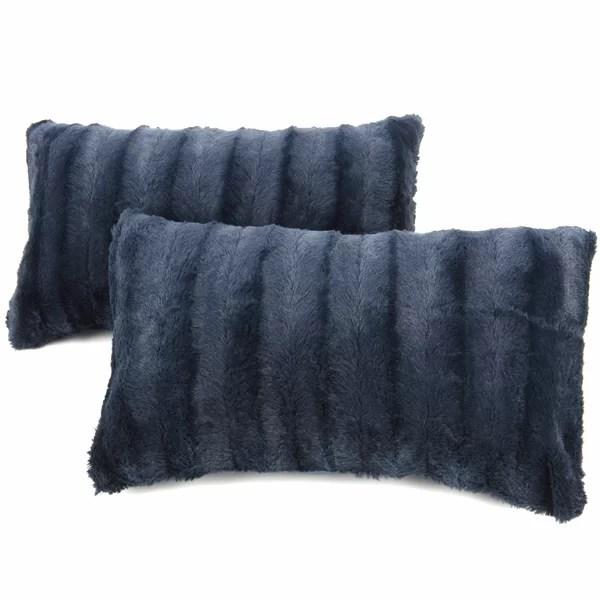 turquoise fur pillow