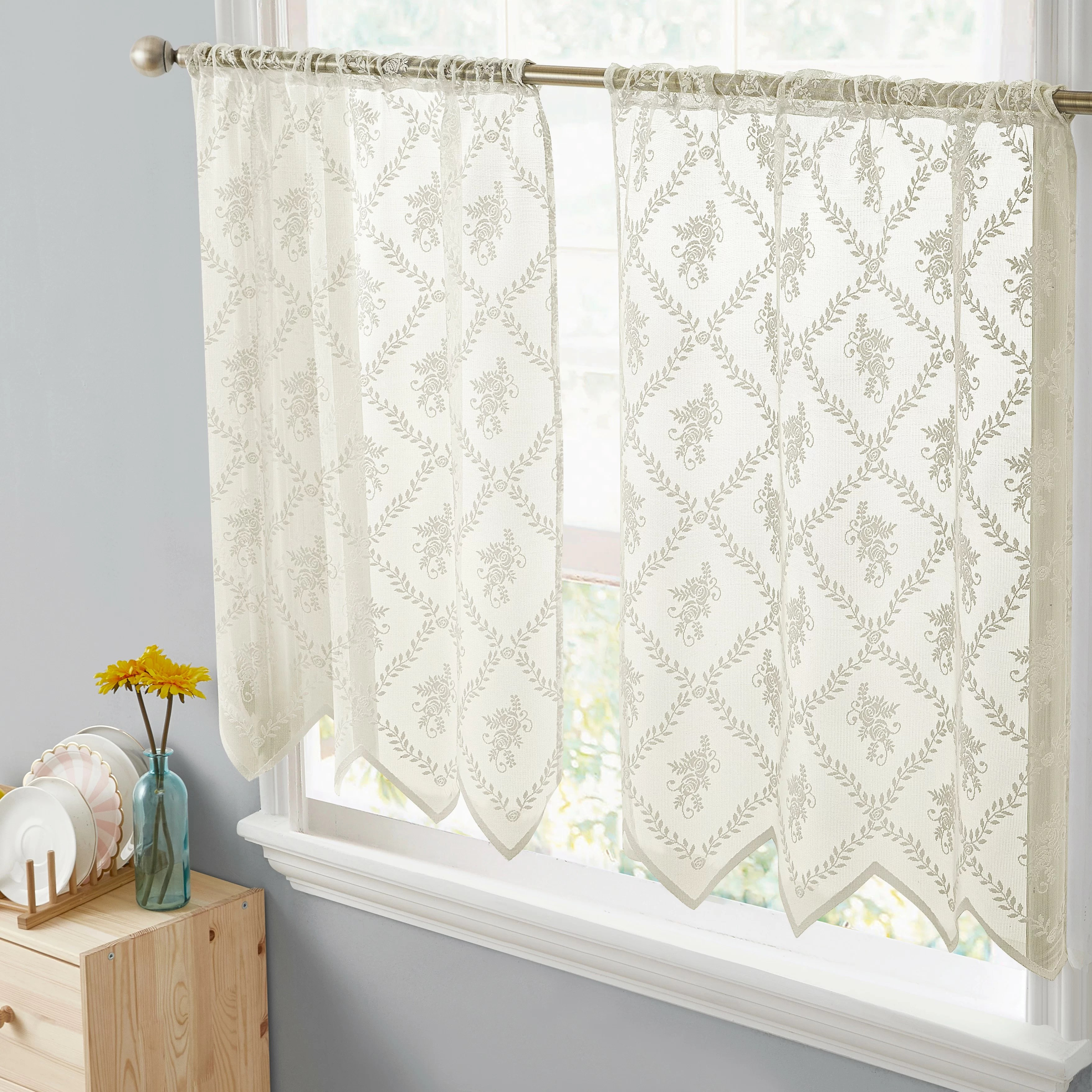 August Grove Adrik Isabella Floral Lace Sheer Rod Pocket Tiers Kitchen Curtain Reviews